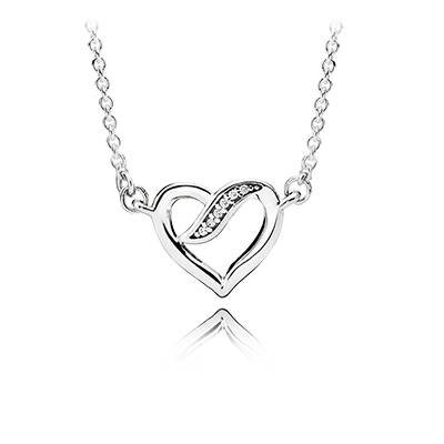 Ribbons of Love Necklace, Clear CZ