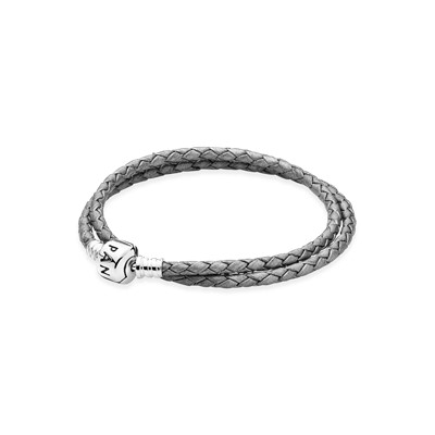 Moments Double Woven Leather Bracelet - Grey - 590705CSG-D
