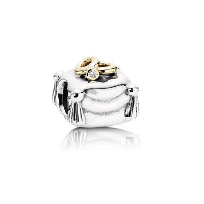 wedding rings two rings on pillow silver charm 14k 0004ct tw h - Pandora Wedding Rings