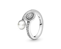 Luminous Glow Ring, White Crystal Pearl and Clear CZ - 191044CZ